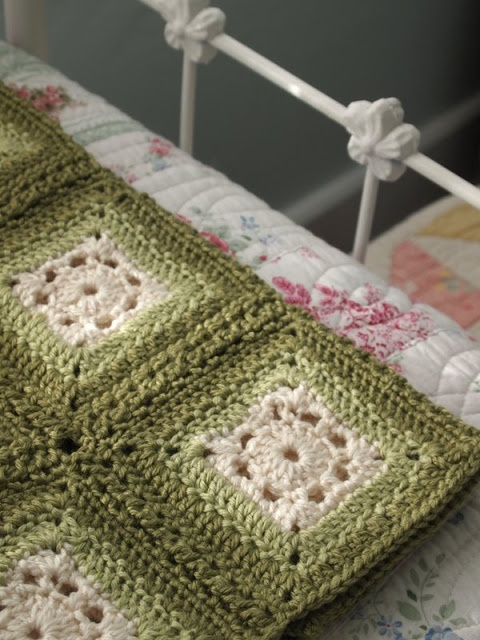 at Yarnaway: her version of the RedHeart Blushing Grannies Throw: love the soft greens: it's a free pattern from Red Heart dot com.