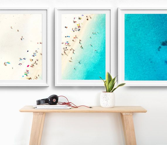 NEW! Framed 3-Piece Triptych Mediterranean Photo Print Set // Aerial Beach Photography // Sunbake People Summer – Natalie Crowley Larkins