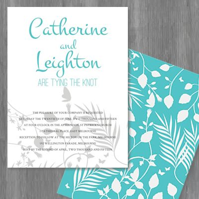 15 best wedding invitations by couture card company images on teal and grey wedding invitation featuring butterflies and rainforest flora by the couture card company stopboris Image collections