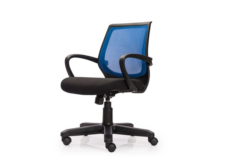 Regina Low Back Mesh Chair from Durian has padded seat with durable mesh back and fabric upholstered seat.