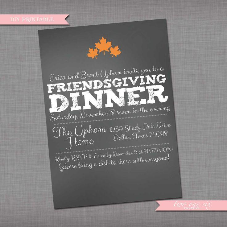Chalkboard Friendsgiving Invitation - Fall Thanksgiving ...