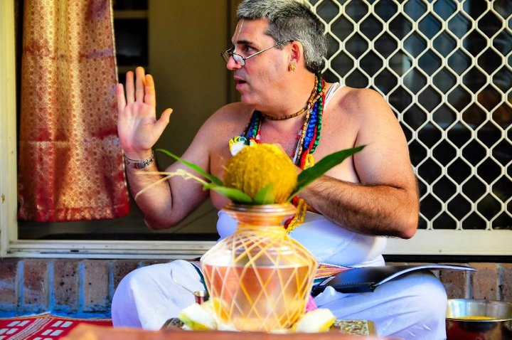 U. Ve. Sri Keshava Achari studied the Pancaratra Agama from the late M. R. Sampat Kumar Bhattacharya of Tulasi Ram Das Mutt, Bangalore and is the only Westerners who has undertaken the Chakrabja Mandala Archaka Diksha from the late Y. R. Vasudeva Bhattacharya, Professor of the Pancaratra Agama at the Maharaja's Sanskrit College in Mysore. Keshava Achari is also the only Westerner (to date) who is registered as an Archaka with the Government of Karnataka.