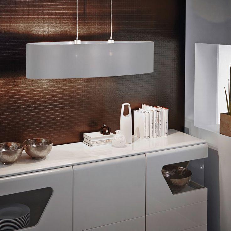 Maserlo / Hängeleuchte / Stahl Nickel-Matt Textil Grau Silber 40493