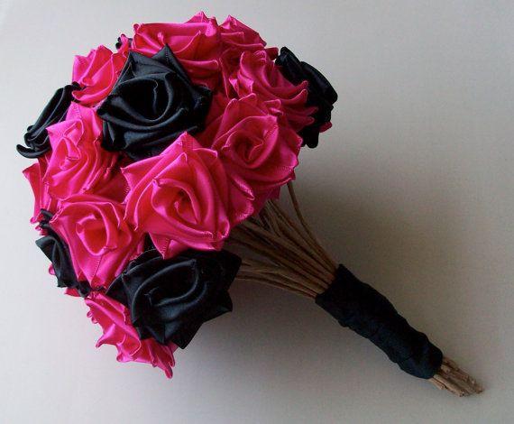 Punk Rock Bride Hot Pink and Black Ribbon Rose by MKissaCreations, $75.00