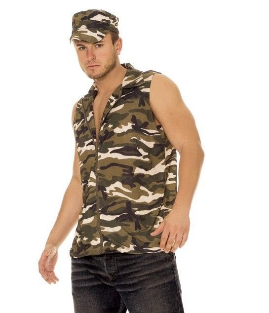 Army Halloween Costume Small Medium S M Men Camo Hunter Military USA Soilder #ElegantMoments #CompleteCostume