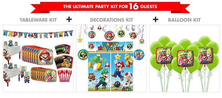 Super Mario Birthday Banner