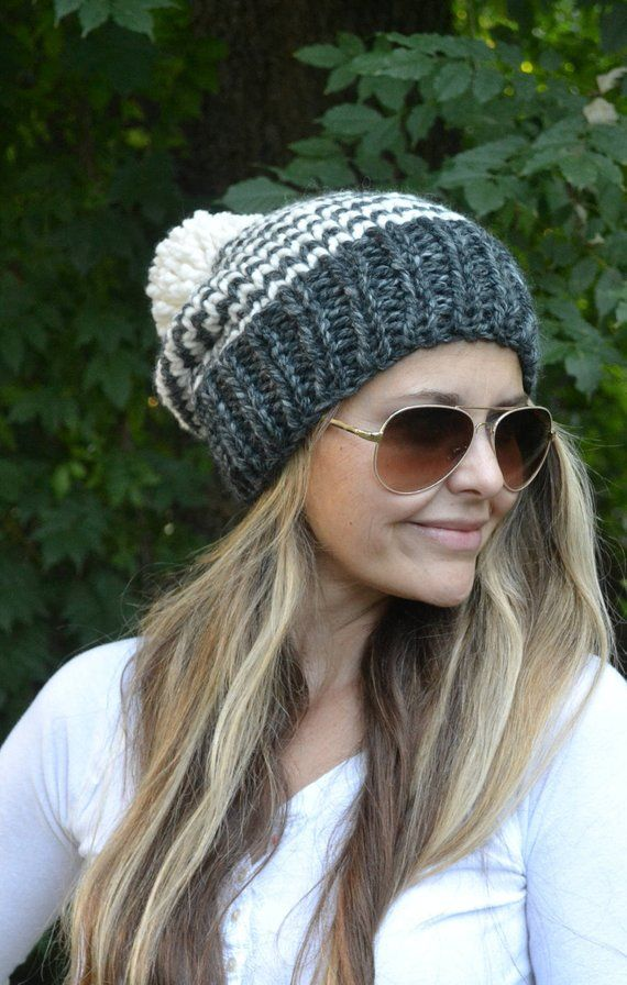 778963d6544 Pattern for THE Carson STRIPED SLOUCHY POM POM BEANIE HAT by ROSEHIP LANE  Easy