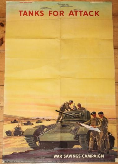 WW2 BRITISH PROPAGANDA / WAR SAVINGS TANKS POSTER