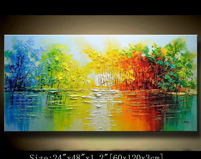 Contemporary Wall Artpalette Knife Painting Colourful Tree Etsy Colorful Landscape Paintings Texture Painting On Canvas Landscape Paintings