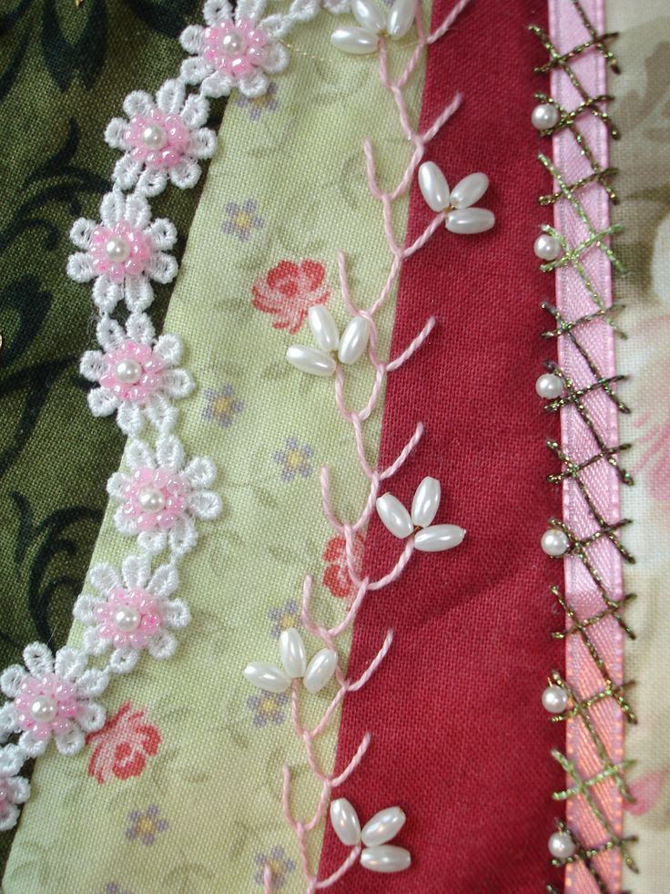 Crazy Patch Seam Treatments: LEFT – Pale pink seed bead flowers on lace applique; MIDDLE – Feather stitch; RIGHT – Herringbone stitch with metallic green thread over pink ribbon.
