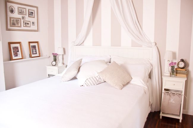 New In My Bedroom The Striped Wall Sweet As A Candy Striped Walls Bedroom Shabby Chic Bedrooms Striped Room