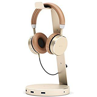 Satechi Aluminum USB Headphone Stand Holder with Three USB 3.0 Ports and 3.5mm AUX port - Suitable For All Headphone Sizes