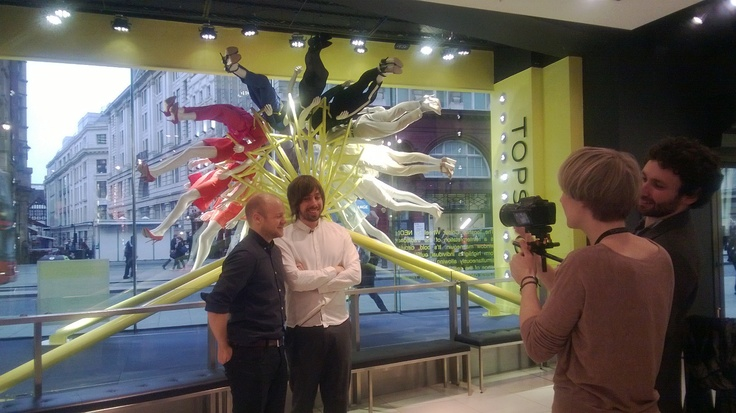 NEON being interviewed by @Dezeen magazine in @Topshop for the RIBA London, Regent Street Windows Project.