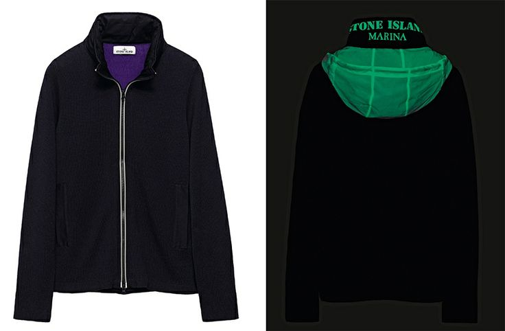 529XB STONE ISLAND MARINA_GLOW-IN-THE-DARK HOOD AND PRINT Double face knit cardigan, in an impregnated water resistant cotton yarn on the outside and plain cotton on the inside.