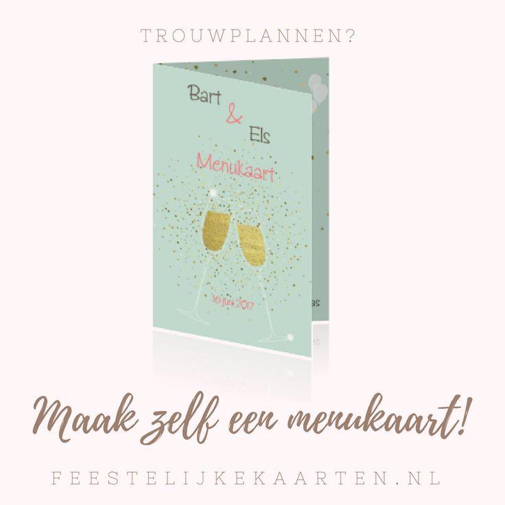 Een originele menukaart voor een huwelijksfeest met hartjes confetti van goud en champagneglazen. Een diner met het bruidspaar na de ceremonie.