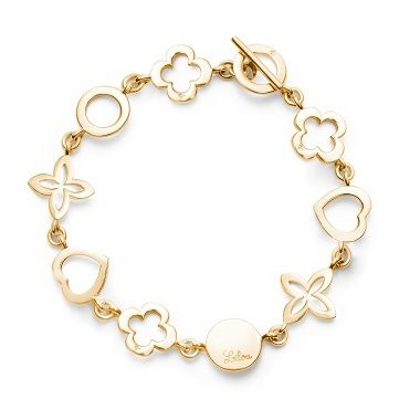 Openwork bracelet in plated gold : 86£ #bracelet #christmas #present #lilou #heart #clover #medal