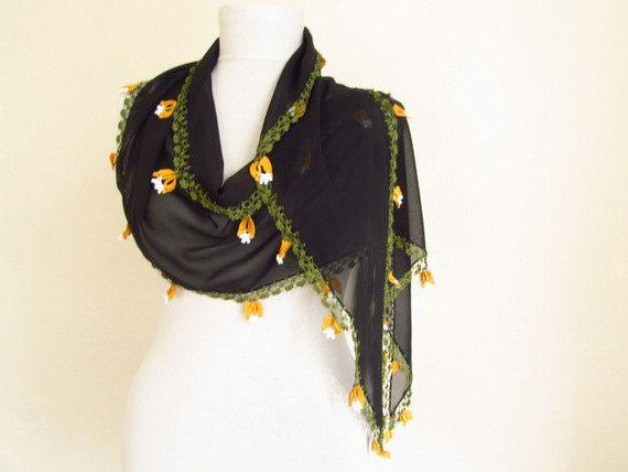 chiffon scarf  Oya Scarf handmade scarves flower by ScarfsSale, $28.00