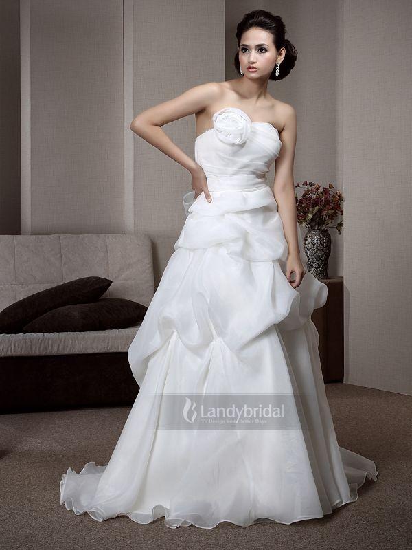 ウェディングドレス Aライン オーガンジー  結婚式ドレス  花嫁  二次会  001170013010
