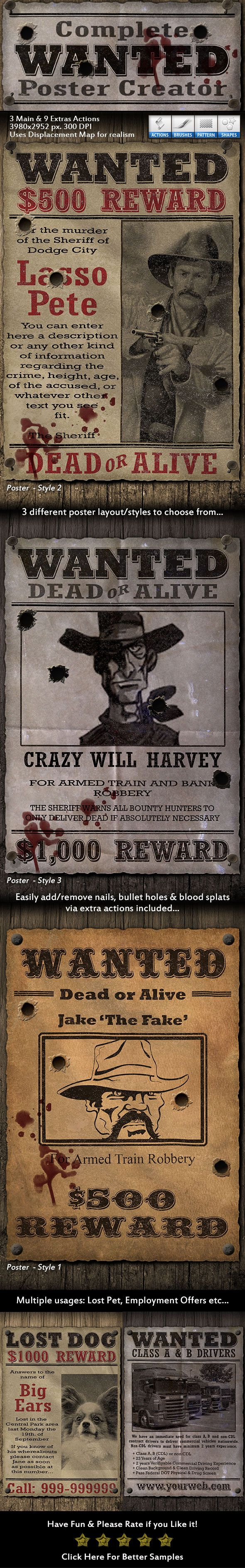 Complete Wanted Poster Creator  #western #bullet • Download ➝ https://graphicriver.net/item/complete-wanted-poster-creator/18046843?ref=pxcr