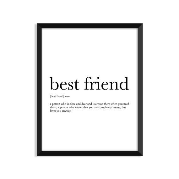 Beste Freundin Definition, romantisch, Wörterbuch Kunstdruck, Bürodekor, minimalistische Poster, lustige Definition Druck, Definition-Poster, Zitate