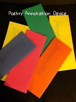 Print these on cardstock (or paper), fold in half, and let your students go wild with this annotation device. It lists 26 poetic devices and allows lined space to record the textual evidence.I have also included a couple of different techniques for annotation.Enjoy this freebie.