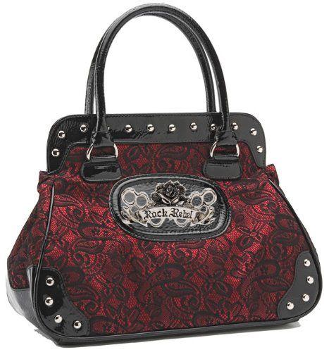 Rock Rebel Brocade Lace Black and Shimmery Red Wine Vintage Style Vegan Handbag Purse