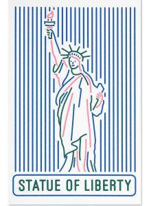 실크스크린 포스트카드 - 자유의 여신상 라인