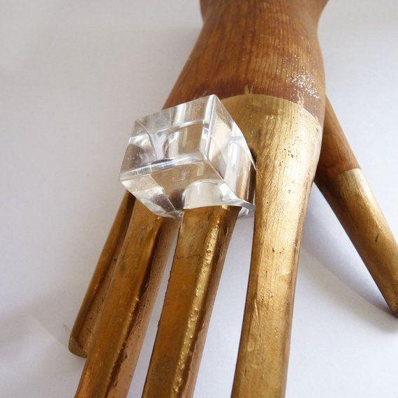 Acrylic Cube Ring | Vintage Clear Modern Disco Club Costume Retro Fashion