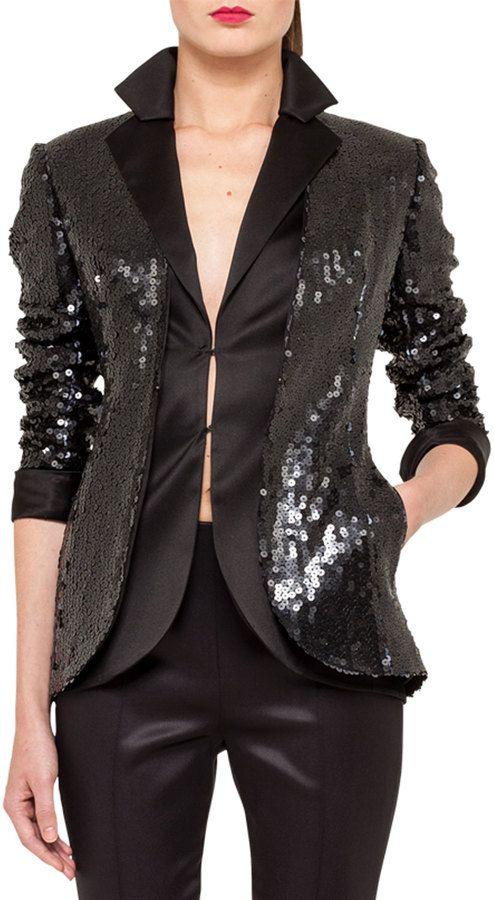 €1,590, Veste pailletée noire Akris. De Neiman Marcus. Cliquez ici pour plus d'informations: https://lookastic.com/women/shop_items/108274/redirect