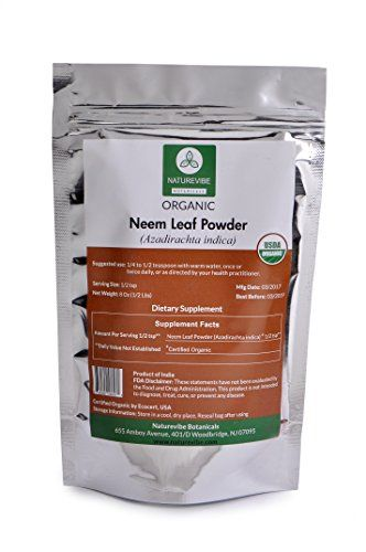 USDA Organic 8oz Neem Leaf Powder (Azadirachta Indica) by Naturevibe Botanicals  USDA Organic  Cures dandruff / Treats acnes and pimples / Reduces hair fall  Maintains oral health and hygiene / Aids in curing Sinusitis / Cures digestive issues  Detoxifies the liver / Eradicates toxins