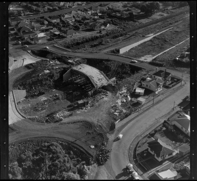 Auckland's Southern Motorway being constructed at Greenlane