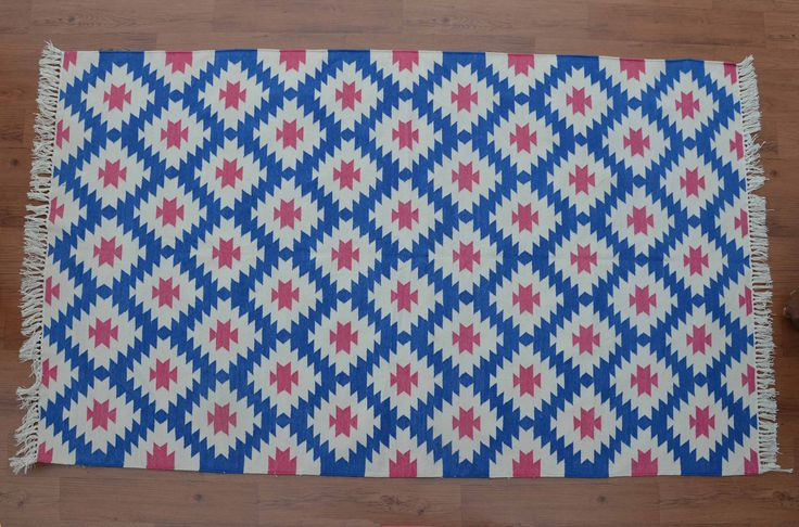 Blue Dhurrie Rug - 4x6, Navajo Cotton Rug, Southwestern Rug, Bohemian Rug, Persian, Kilim, Moroccan Tribal Rug CD-168 by DhurrieWorld on Etsy