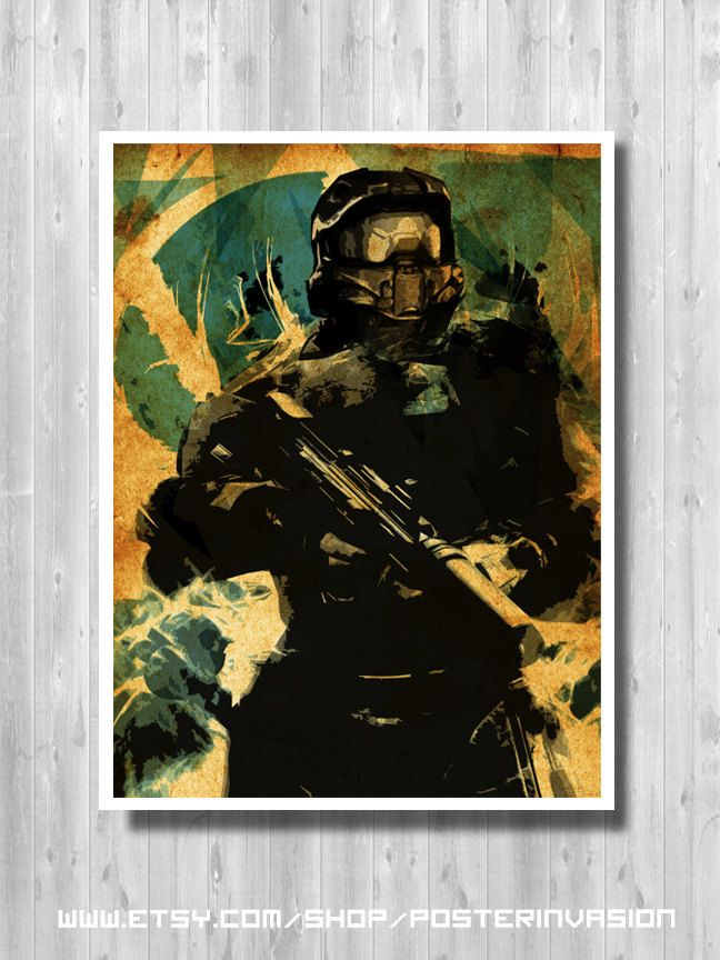 Master Chief poster inspired by Halo video game (10.00 CAD) by PosterInvasion