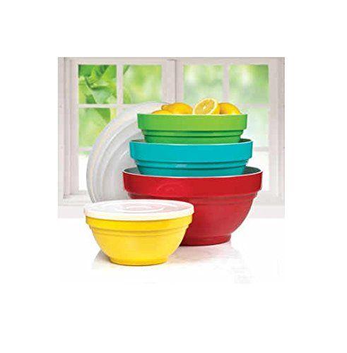 4 piece melamine bowl set with lids