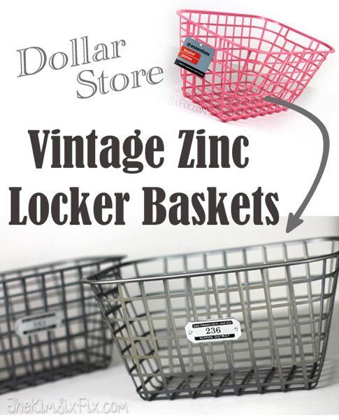Faux Vintage Zinc Locker Baskets (Ballard Designs Knock Off) via TheKimSixFix.com