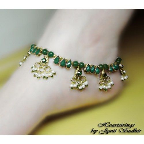 Green Anklet - Online Shopping for Anklets by Heartstrings by Jyoti Sudhir