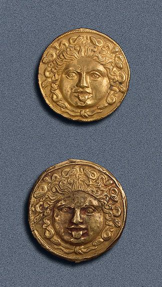 Plaques   Gold; stamped. Left: Diam. 4.8 cm, right: Diam. 4.9 cm  Scythian culture.  4th century BC  Tsymbalka Barrow, Dnieper Area, Zaporoz...