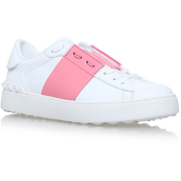 Valentino Garavani Colour Block Open Trainers ($565) ❤ liked on Polyvore featuring shoes, sneakers, colorblock shoes, color block sneakers, leather sneakers, wide width sneakers and leather low tops