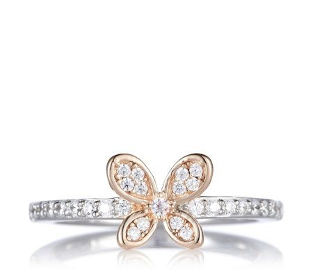 Diamonique 0.2ct tw Butterfly Ring Sterling Silver
