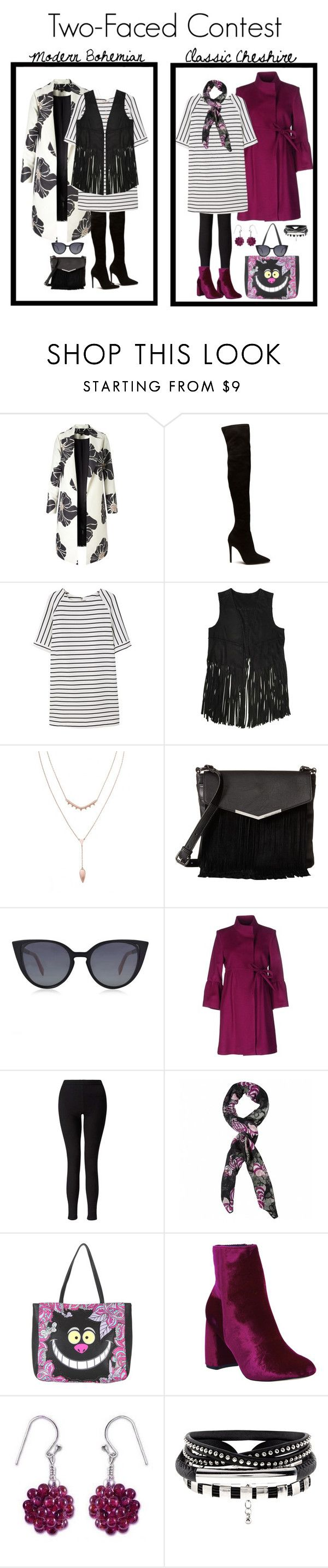 """""""Two-faced Contest: Modern & Classic"""" by ms-ironickel ❤ liked on Polyvore featuring MANGO, BLANKNYC, French Connection, Fendi, Aniye By, Miss Selfridge, Disney, Office, NOVICA and modern"""