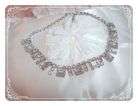 Baguette Rhinestone Necklace  Ice Clear Prong by bodaciousjewels, $44.00