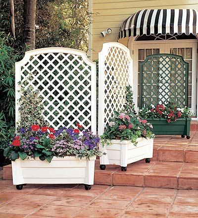 """great solution for townhouse garden! """"Self-watering Planter/Trellis"""" $100 on plow and hearth"""