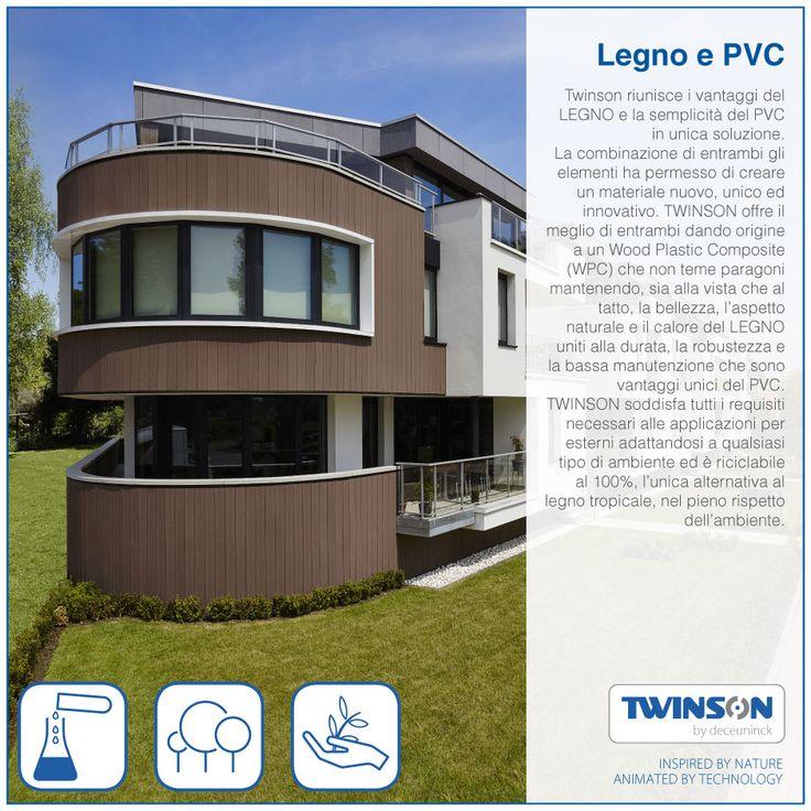 Twinson riunisce i vantaggi del LEGNO e la semplicità del PVC in unica soluzione. La combinazione di entrambi gli elementi ha permesso di creare un materiale nuovo, unico ed innovativo. TWINSON offre il meglio di entrambi dando origine a un Wood Plastic Composite (WPC) che non teme paragoni mantenendo, sia alla vista che al tatto, la bellezza, l'aspetto naturale e il calore del LEGNO uniti alla durata, la robustezza e la bassa manutenzione che sono vantaggi unici del PVC. TWINSON soddisfa…