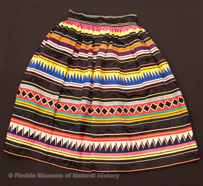 """Florida Ethnographic Collection: Woman's skirt, Miccosukee, cotton cloth and thread, early 20th century, 30.7"""" top to bottom  (87-1-1)."""