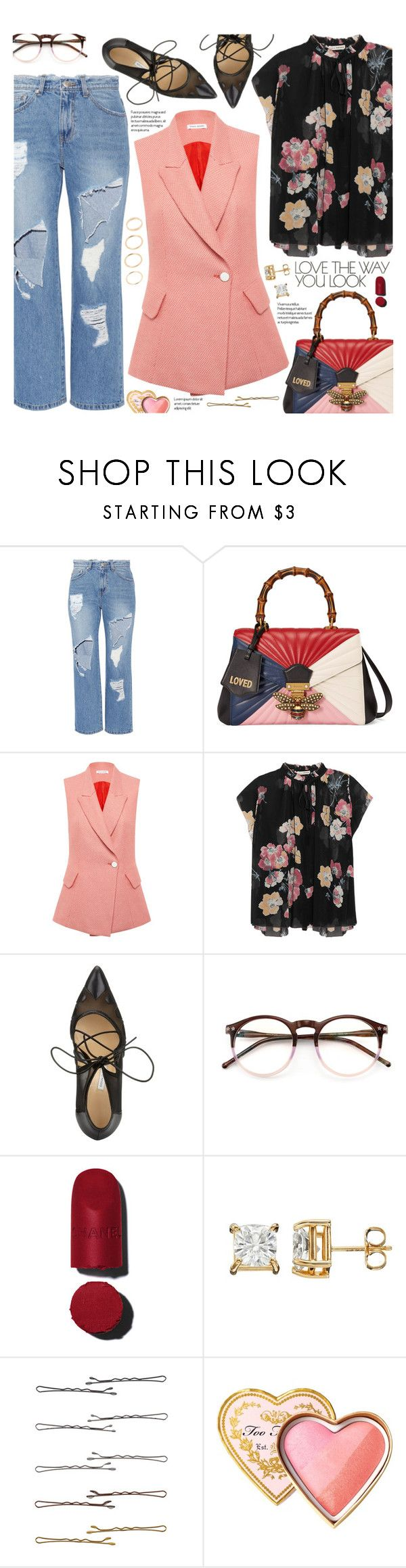 """love the way you look"" by valentino-lover ❤ liked on Polyvore featuring Steve J & Yoni P, Gucci, Bianca Spender, Ulla Johnson, Bionda Castana, Wildfox, Chanel, Forever 21 and Too Faced Cosmetics"