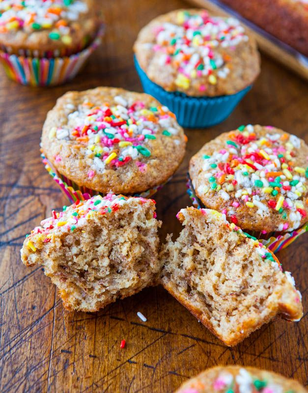 Banana Yogurt Muffins & Little Banana Bread Loaf - Fast, easy, healthy muffins made with Greek yogurt & the extra batter makes a mini loaf