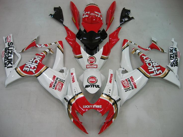 Mad Hornets - Fairings Suzuki GSXR 600 750 White Red Lucky Strike Racing  (2006-2007), $528.99 (http://www.madhornets.com/fairings-suzuki-gsxr-600-750-white-red-lucky-strike-racing-2006-2007/)