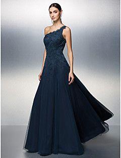 Vestido - Azul Marinho Escuro Baile de Formatura/Festa Formal Linha-A Assimétrico Longo Tule