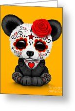Red Day Of The Dead Sugar Skull Panda Greeting Card