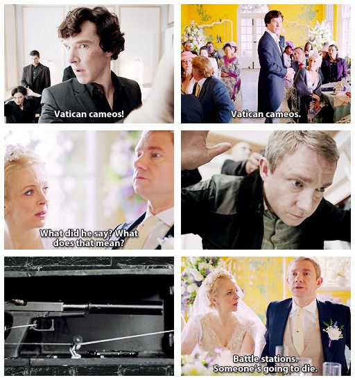 Vatican Cameos, Sherlock s3e2. I love how brilliant is this show<<<---People actually duck away if you saw this in a public place.